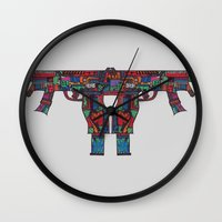 guns Wall Clocks featuring Guns by Sharif El Fatatry