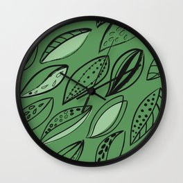 black Scandinavian style ink brush foliage on a green background Wall Clock