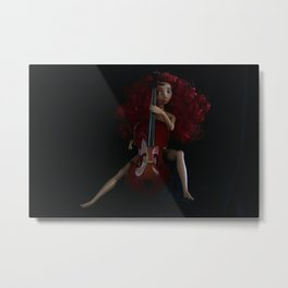 Naked Cellist Metal Print