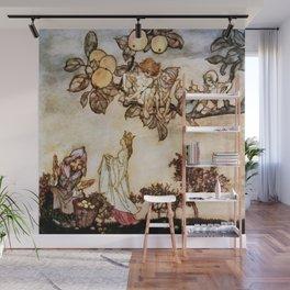 """A Dish of Apples"" Fairy Art by Arthur Rackham Wall Mural"