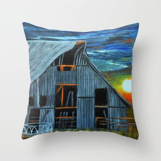 Sunset Behind the barn Throw Pillow
