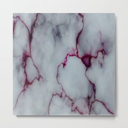 White with Maroon Marbling Metal Print