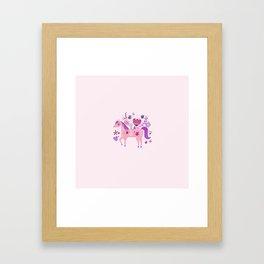 Pink Floral Horse Framed Art Print