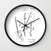 guitar Wall Clocks featuring Guitar by Patent Drawing