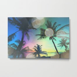 Summer Dreams : Pastel Palm Trees Metal Print