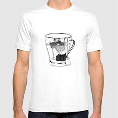 Tea Time MEDIUM White Mens Fitted Tee