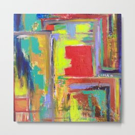 The never ending Maze: Bright Multi Color Abstract Painting Metal Print