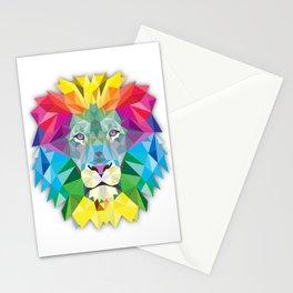 Geometric Rainbow Lion Stationery Cards