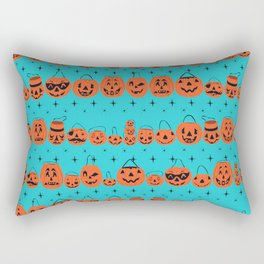 Trick or Treat Smell My Feet- Turquoise Rectangular Pillow