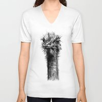 ostrich V-neck T-shirts featuring Ostrich  by Jane Moore Art