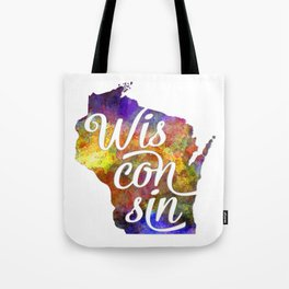 Wisconsin US State in watercolor text cut out Tote Bag