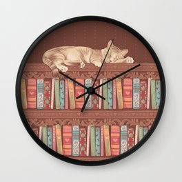 Cat in the library Wall Clock
