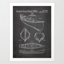 Canoe Patent - Kayak Art - Black Chalkboard Art Print