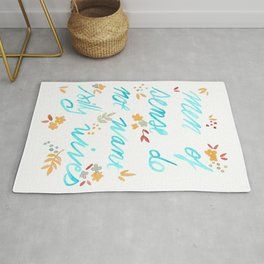 Men of sense do not want silly wives - Turquoise & Orange Palette Rug