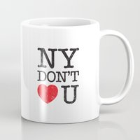 stickers Mugs featuring New York, New York by Text Guy