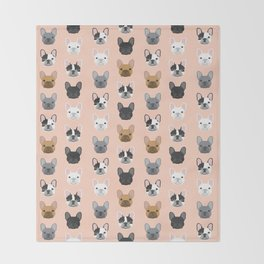 French Bulldog portraits pattern dog person gift love animal pet puppy frenchie bulldog portrait Throw Blanket