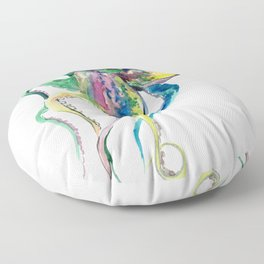 Octopus design, Tropical Colors Beach, yellow red blue green Floor Pillow