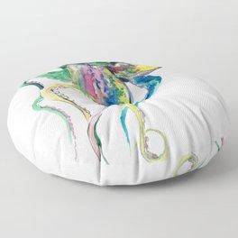 Octopus design, Tropical Colors Beach, yellow red blue green Floor Pillow