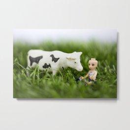 Baldy & Cow Metal Print