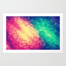 Abstract Polygon Multi Color Cubizm Painting (low poly) Art Print