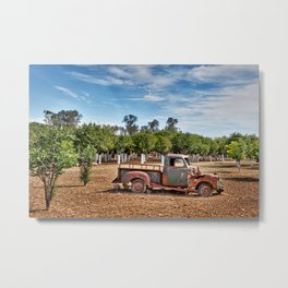 Abandoned old car at the mansion Citrus of Kampos in Chios island, Greece Metal Print