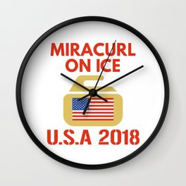USA Curling Shirt with America Flag Wall Clock