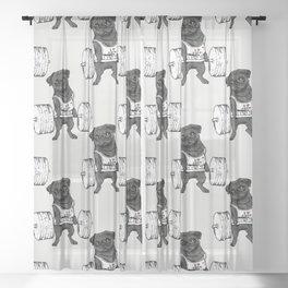 Black Pug Lift Sheer Curtain