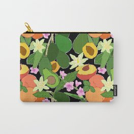 Avocado + Peach Stone Fruit Floral in Black Carry-All Pouch