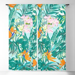 Bird of Paradise Hawaii Rainforest Tropical Leaves Pastels Blackout Curtain