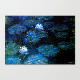monet water lilies 1899 Blue teal Canvas Print