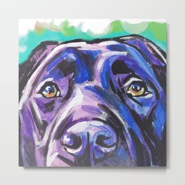 black Labrador Retriever Dog Pop Art by Lea Metal Print