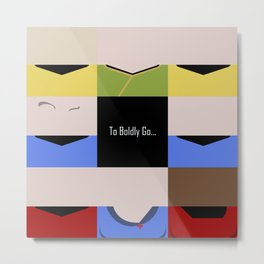 To Boldy Go - square - Star Trek The Original Series TOS - startrek Trektangle Kirk Spock Bones  Metal Print