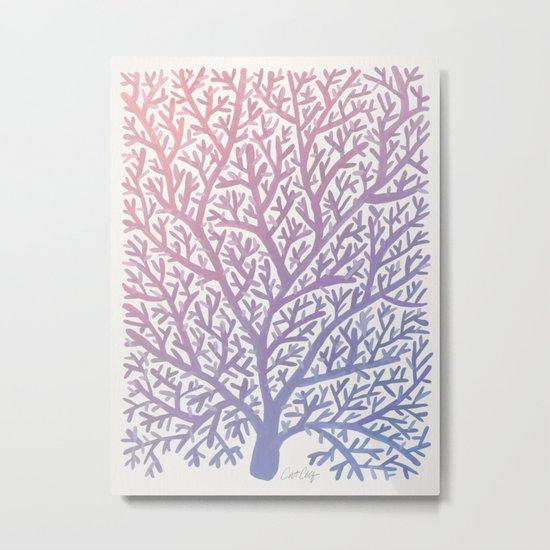 Fan Coral – Rose Quartz & Serenity Metal Print