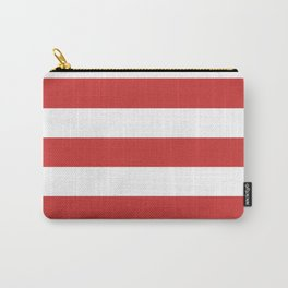 Persian red - solid color - white stripes pattern Carry-All Pouch