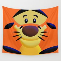 cartoons Wall Tapestries featuring Cute Orange Cartoons Tiger Apple iPhone 4 4s 5 5s 5c, ipod, ipad, pillow case and tshirt by Three Second