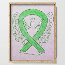 Lime Green Awareness Ribbon Angel Art Serving Tray