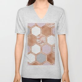 Mixed rose gold pinks and marble geometric Unisex V-Neck