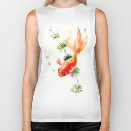 Goldfish, aquarium fish art, design watercolor fish painting Biker Tank
