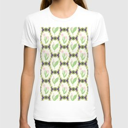 Spring Flowers Tulips and Lily of the Valley Illustrated Pattern Print T-shirt