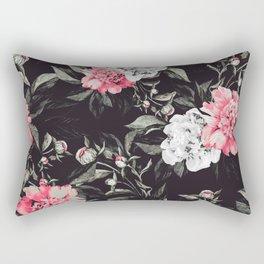 Floral pink - black & white dark Rectangular Pillow