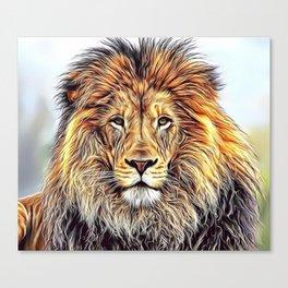 Lion Portrait Airbrush Artwork Canvas Print