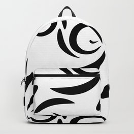 Monochrome pattern of black doodles and curls in floral ornament in ethnic style on a white backgrou Backpack