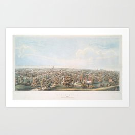 Vintage Pictorial Map of Springfield MA (1851) Art Print