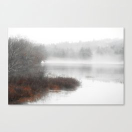 Foggy lake on a winter day - Nature Photography Canvas Print