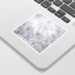 Winter Scene Rowan Berries With Snow And Bokeh #decor #buyart #society6 Sticker