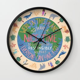 Just be Nice Wall Clock