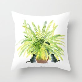 Fern and Two Cats Throw Pillow