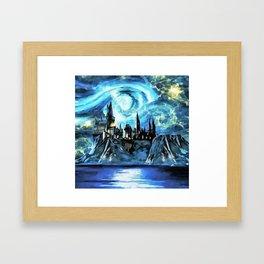 Starry night in Hogwarts castle - part 2 Framed Art Print