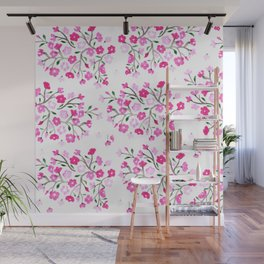 Pink Cherry Blossoms Hand Painted Wall Mural