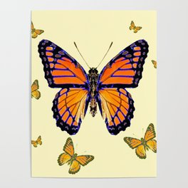 SPRING FLYING ORANGE MONARCH BUTTERFLIES ON CREAM Poster